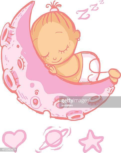 ilustrações de stock, clip art, desenhos animados e ícones de menina dormir na lua - bebe chegando