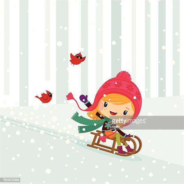 girl snow sled winter cute kid happy illustration vector myillo - tobogganing stock illustrations, clip art, cartoons, & icons