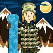 Girl Snowboarder in Mountain Range by Night