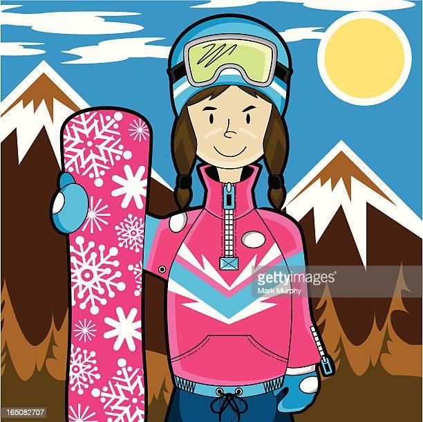 girl snowboarder in mountain range - helmet visor stock illustrations, clip art, cartoons, & icons
