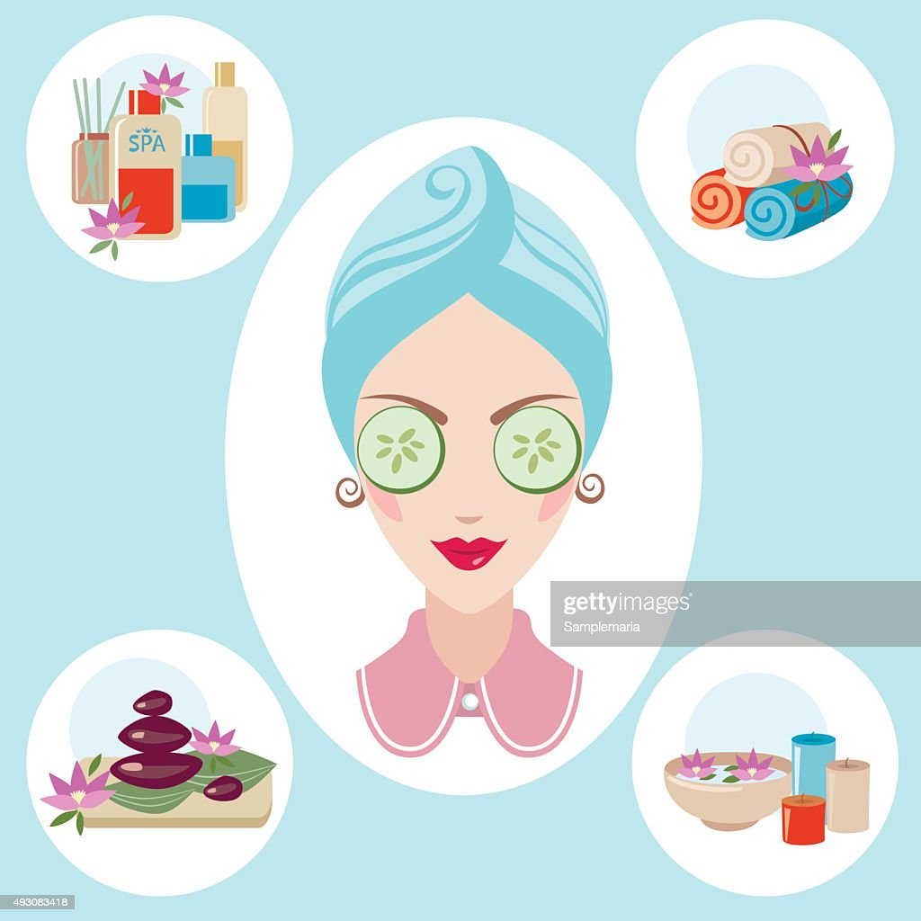 Girl spa beaty & health illustration