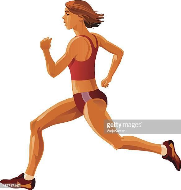 girl sprinter - women's track stock illustrations, clip art, cartoons, & icons