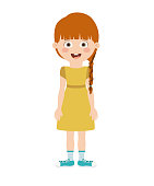 girl standing in front isolated icon design