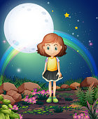 girl standing outdoor under the bright fullmoon
