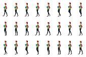 Girl Student walk cycle animation sprites, Loop animation.