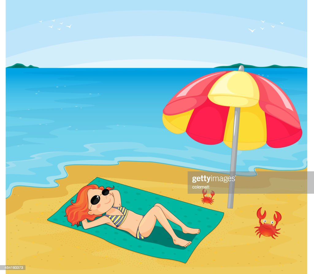Mädchen Sonnenbaden : Vektorgrafik