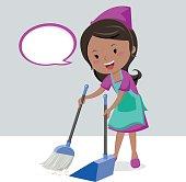 Girl sweeping floor with broom
