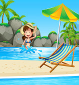 Girl swimming in the sea