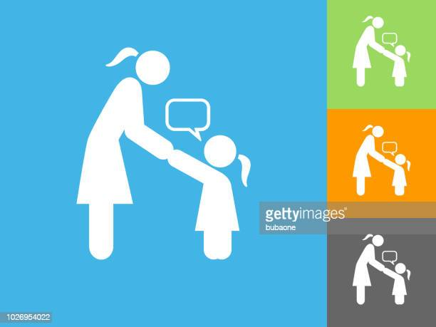 girl talking to mom flat icon on blue background - adult stock illustrations, clip art, cartoons, & icons