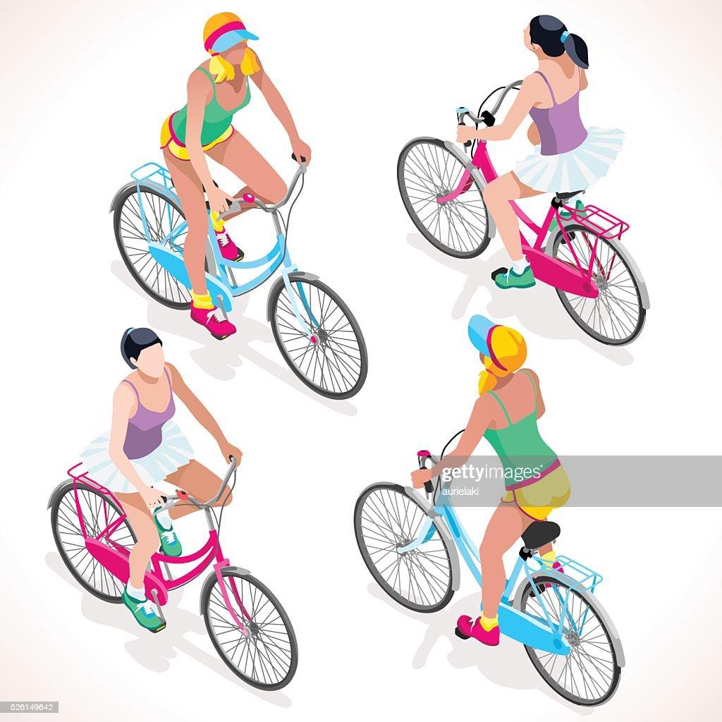 Girl Teen Cycling Isometric People
