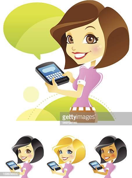 Fille à envoyer des SMS, blogs, de dactylographie sur Smartphone