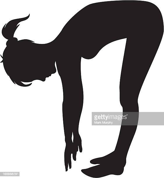 girl touching toes in silhouette - touching toes stock illustrations, clip art, cartoons, & icons