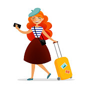 Girl traveler with a suitcase, bag and phone with cute red hair travelling and having fun. Happy tourist isolated on white background vector flat illustration. Trip and journey concept.
