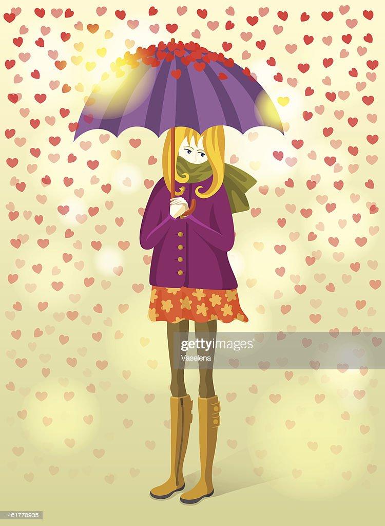 Girl under rain of hearts