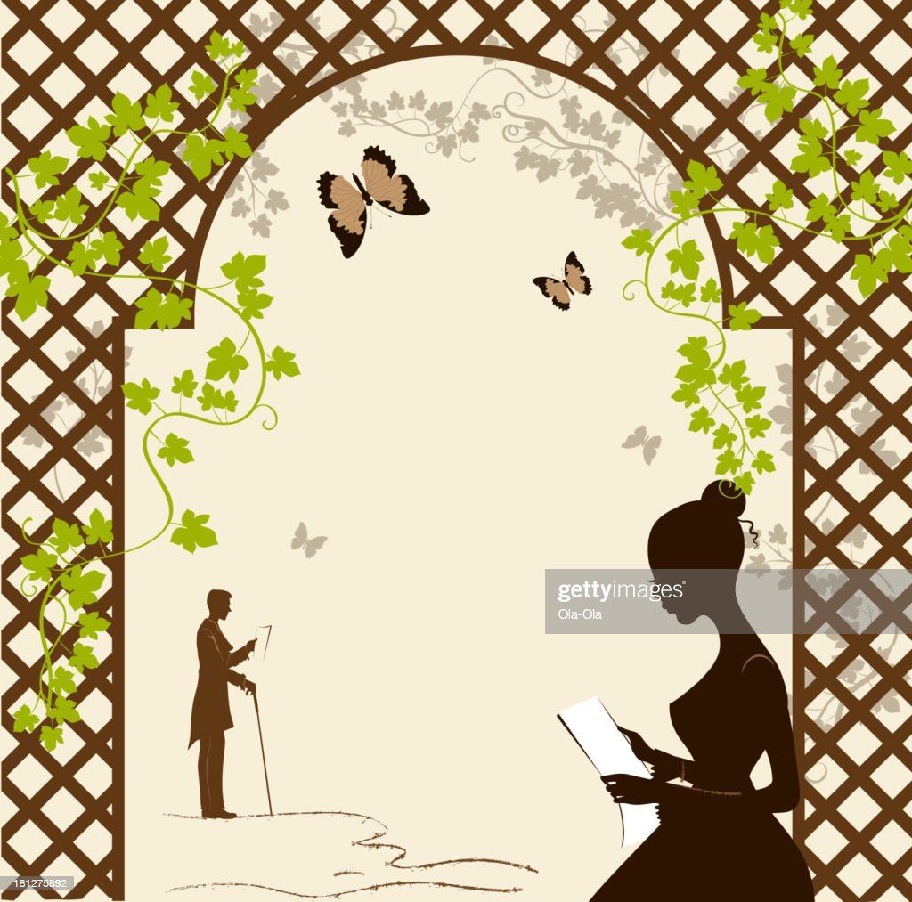 Girl under the romantic arbor
