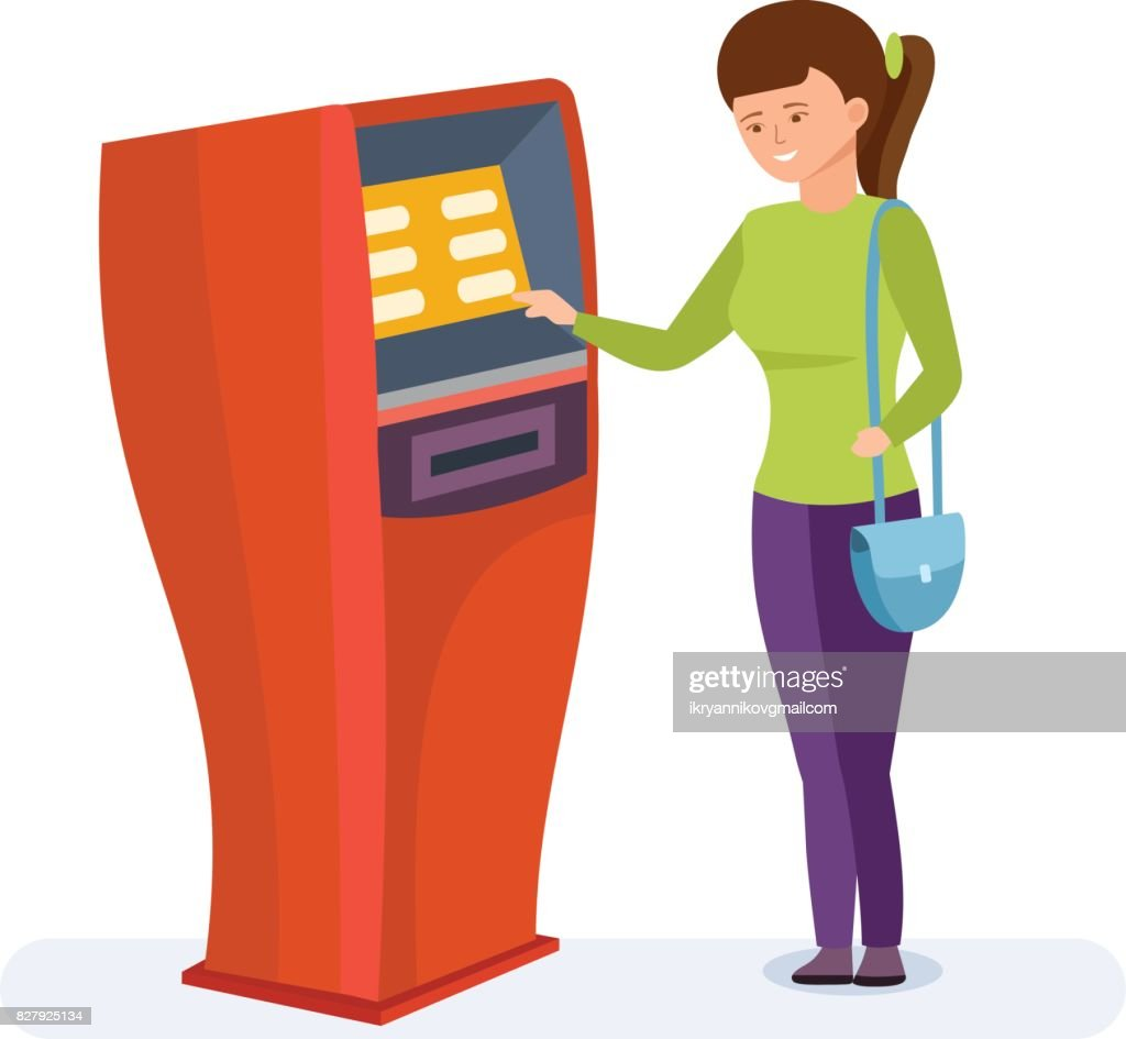 Girl uses financial services of bank terminal for personal purposes