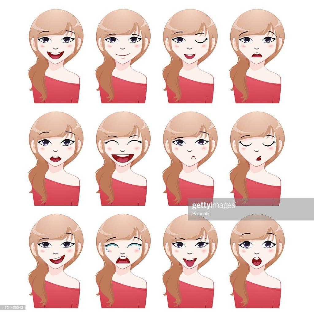 Girl vector avatar set