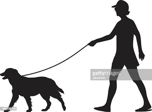 girl walking dog silhouette - dog leash stock illustrations, clip art, cartoons, & icons