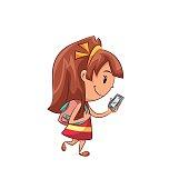 Girl walking using smartphone