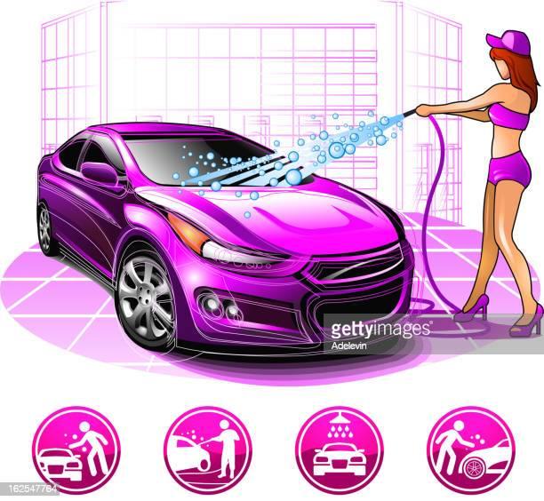 ilustrações, clipart, desenhos animados e ícones de garota de lavagem de carro - lava