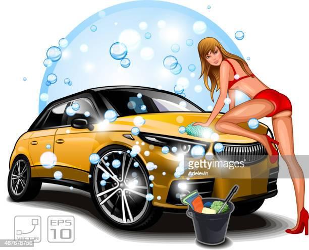 illustrations, cliparts, dessins animés et icônes de jeune fille se laver voiture - station de lavage auto