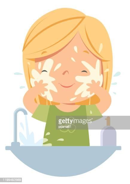 ilustraciones, imágenes clip art, dibujos animados e iconos de stock de chica lavando la cara - habitos de higiene