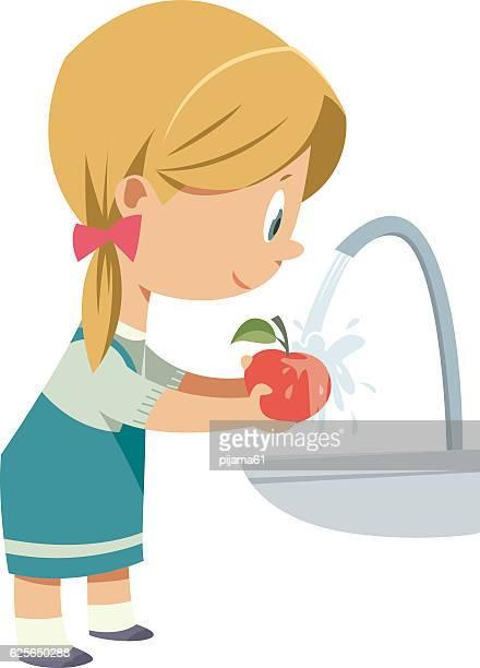 ilustraciones, imágenes clip art, dibujos animados e iconos de stock de girl washing fruit - agua potable