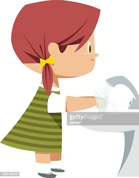 ilustraciones, imágenes clip art, dibujos animados e iconos de stock de chica de lavado de manos - habitos de higiene