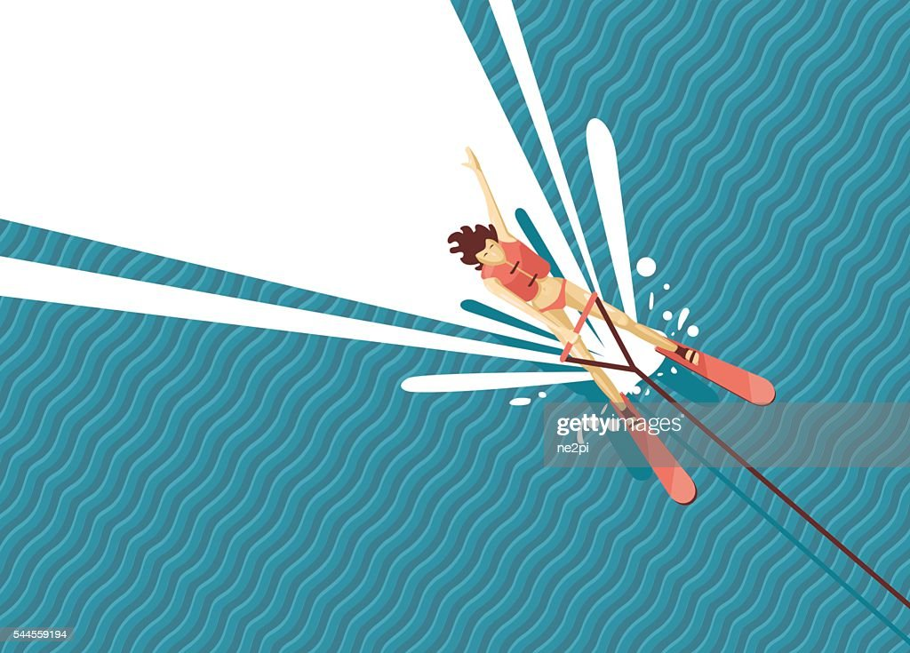 Girl water skiing. Top view of woman on the sea.