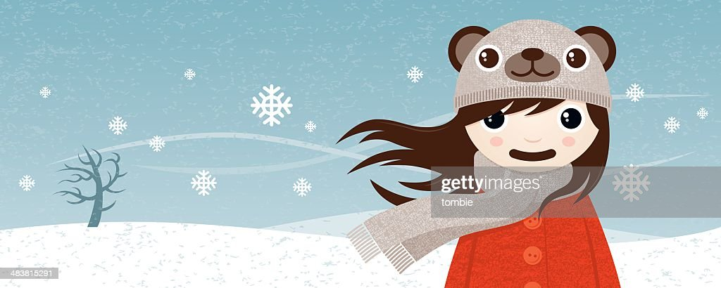 Girl Wearing Bear Hat In The Snow