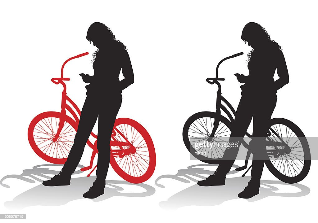 Girl with a bicycle : Vector Art