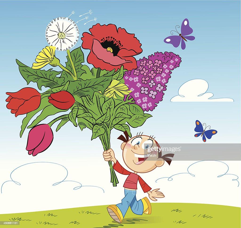 Girl with a bouquet of flowers vector art getty images girl with a bouquet of flowers vector art izmirmasajfo