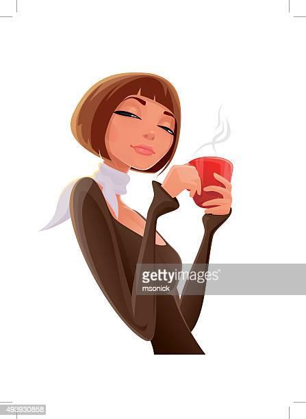 ilustrações, clipart, desenhos animados e ícones de menina com uma xícara - bebida