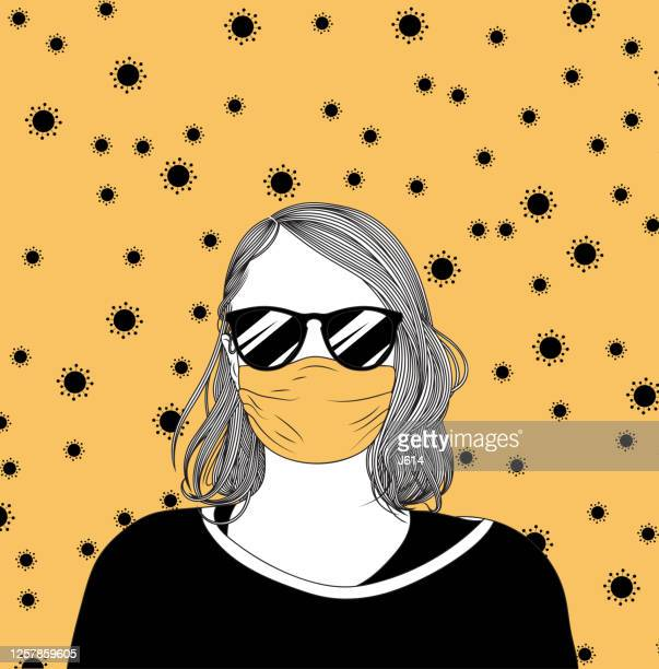 girl with a face mask and sunglasses, surrounded by coronavirus - woman wearing protective face mask stock illustrations