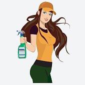 Girl with a spray