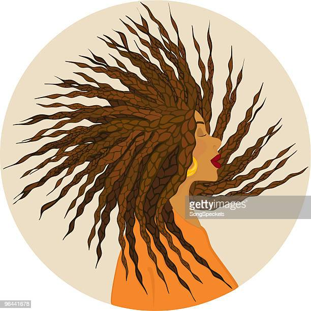 girl with african braids - braided hair stock illustrations, clip art, cartoons, & icons