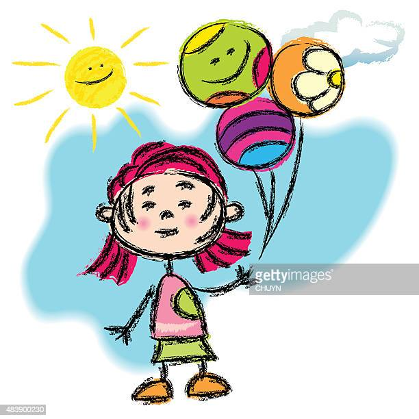 girl with balloons - one girl only stock illustrations, clip art, cartoons, & icons