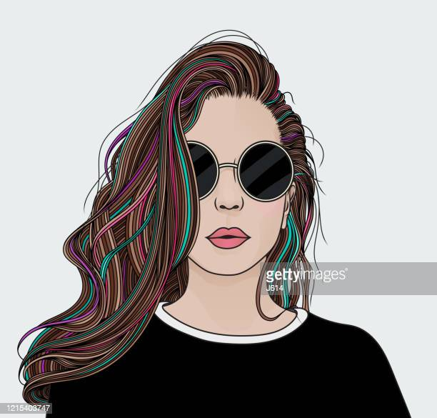 girl with big hair - highlights hair stock illustrations