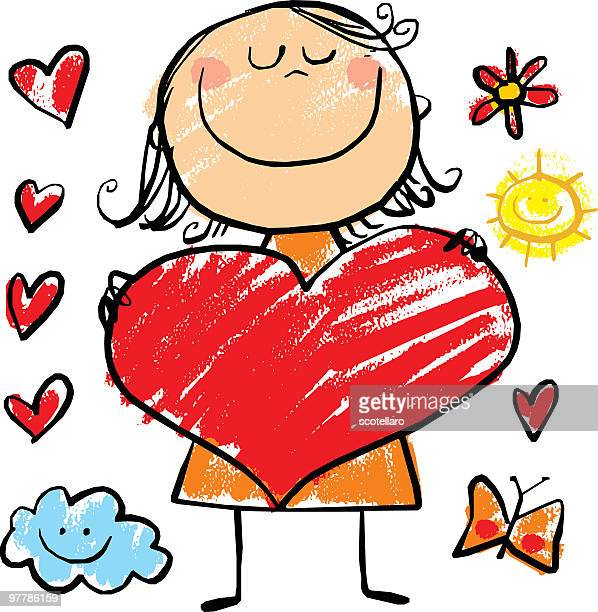 girl with big heart - one girl only stock illustrations, clip art, cartoons, & icons