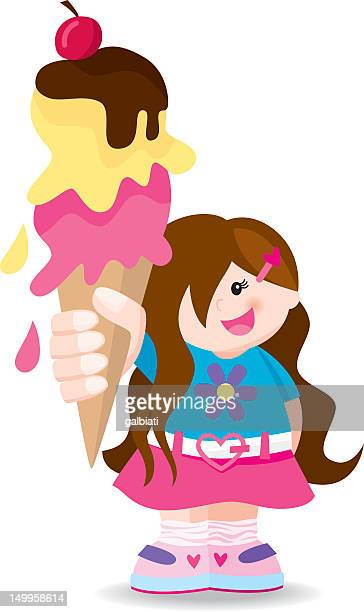 girl with big ice-cream - dessert topping stock illustrations, clip art, cartoons, & icons