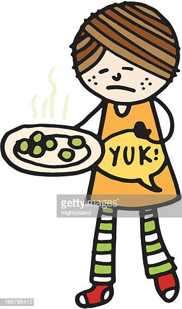 girl with brussel sprouts - brussels sprout stock illustrations, clip art, cartoons, & icons