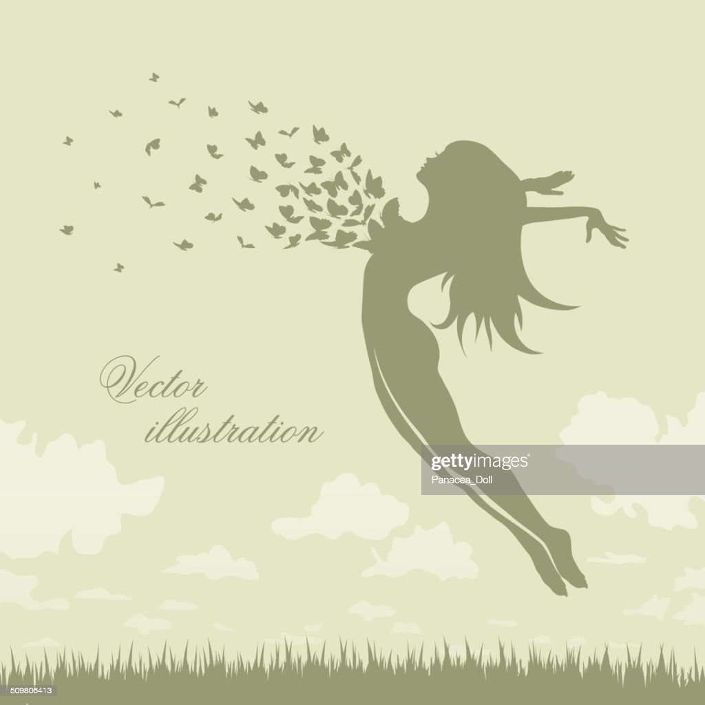 girl with butterflies in a jump