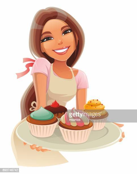 girl with cakes - baked stock illustrations, clip art, cartoons, & icons