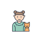 girl with cat colored icon. Element of family icon for mobile concept and web apps. Colored girl with cat icon can be used for web and mobile