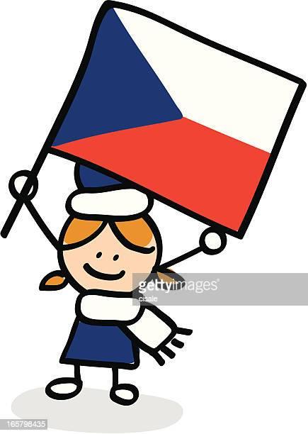 girl with Czech flag cartoon illustration