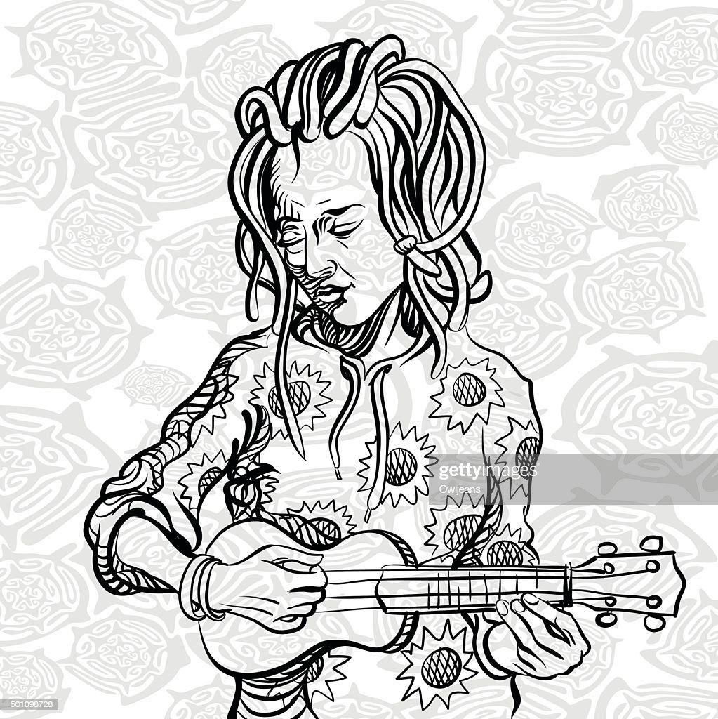Girl with dreadlocks playing the ukulele