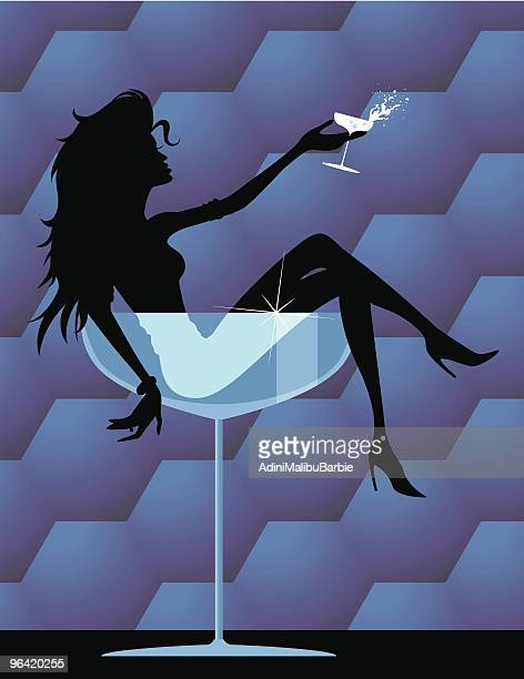 girl with drink - slim stock illustrations, clip art, cartoons, & icons