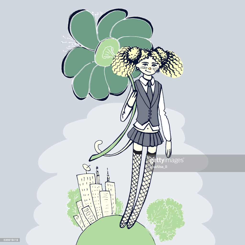 Girl with flower illustration - retro style : Vector Art