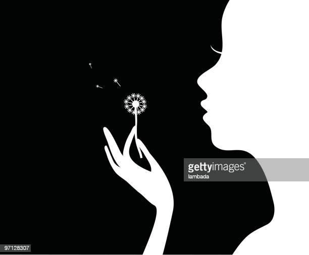 illustrations, cliparts, dessins animés et icônes de fille avec fleur. - fleur de pissenlit