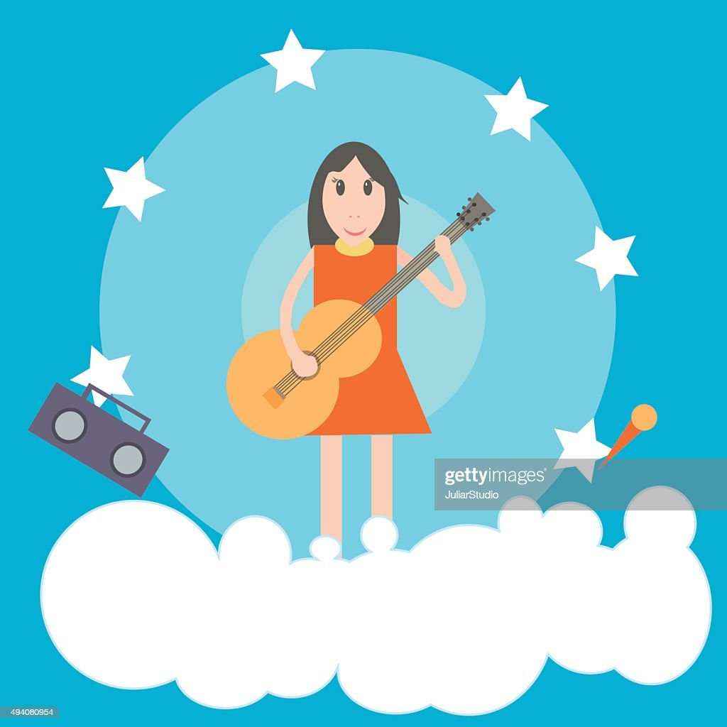 Girl with guitar flat illustration